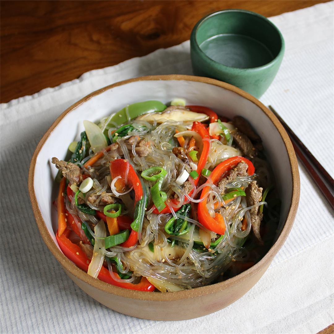 Japchae- Korean stir fried glass noodles and vegetables