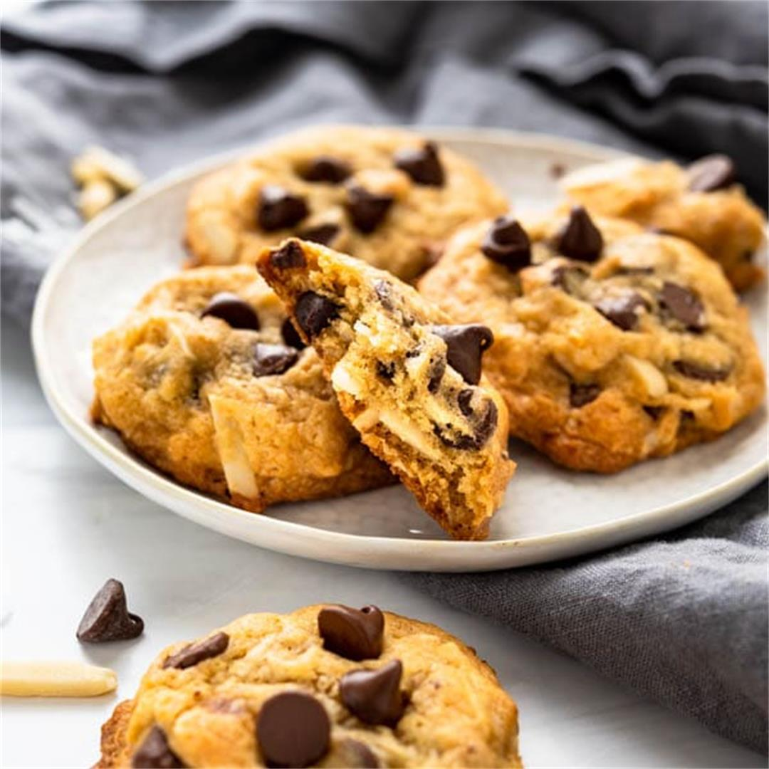 Soft & Chewy Coconut Almond Chocolate Chip Cookies