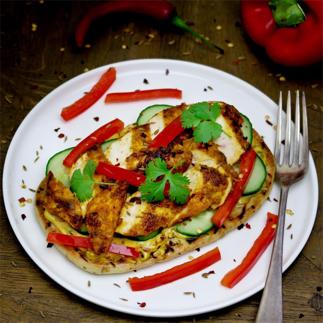 Divine naan sandwich with fragrant spicy chicken!