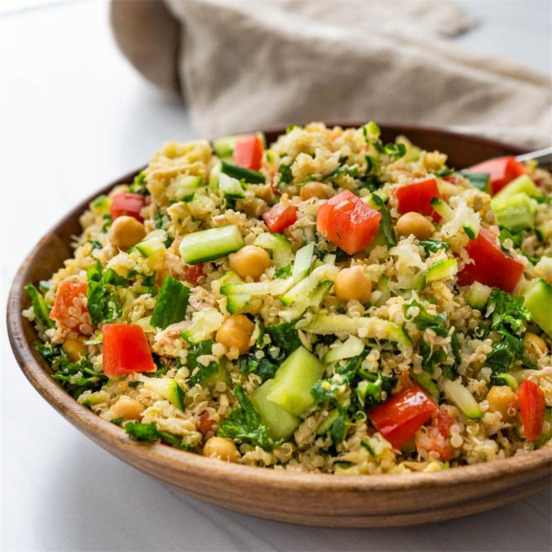 Lemony Chickpea Tuna Salad with Quinoa and Kale