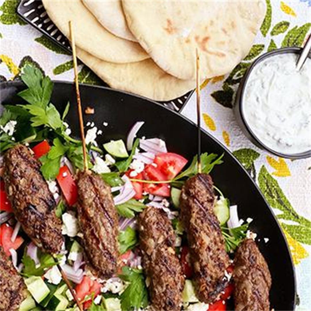 Wagyu Beef Kofta Kebabs with Tzatziki Sauce