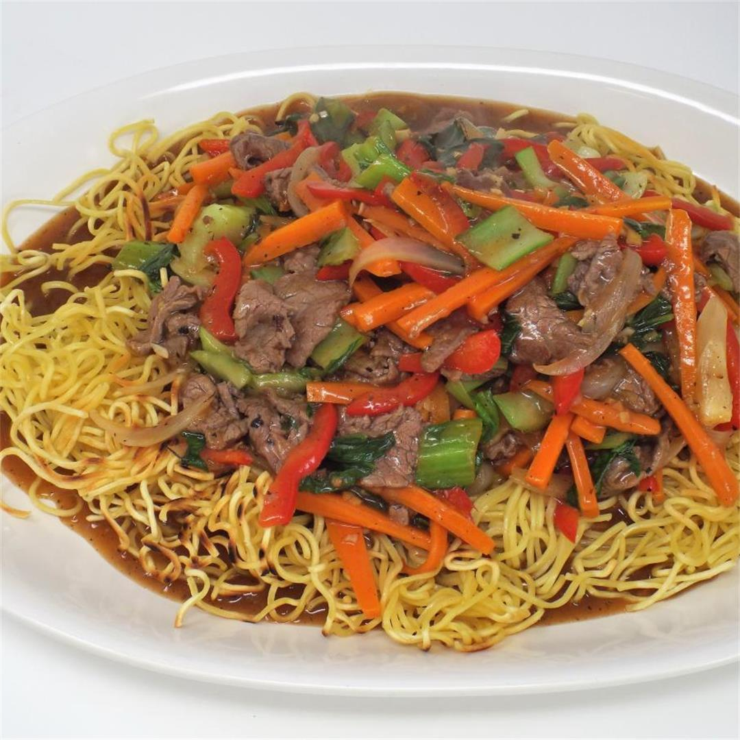 Pan Fried Noodles with Beef and Vegetables