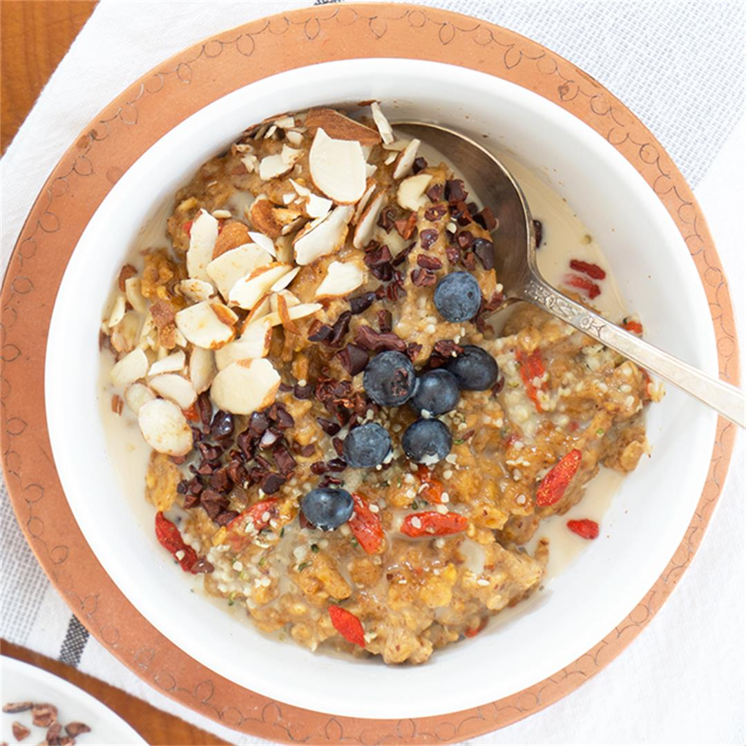 Superfood Oatmeal Bowl with Goji Berries + Cacao Nibs