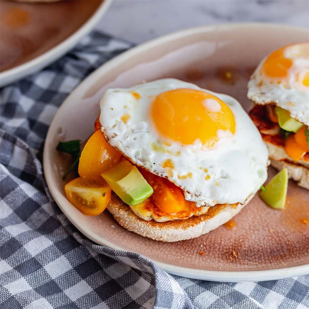 Breakfast Muffin with Halloumi & Avocado Salsa