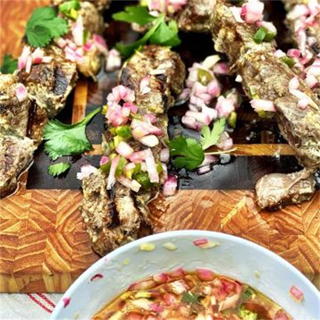 Grilled Lemongrass and Coconut Wagyu Beef Skewers with Relish