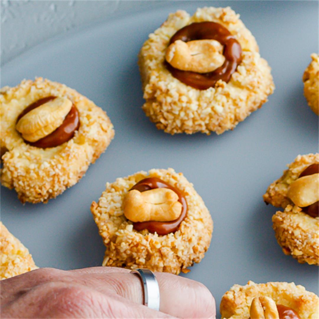 Cashew Thumbprint Cookies with Cinnamon Caramel Sauce