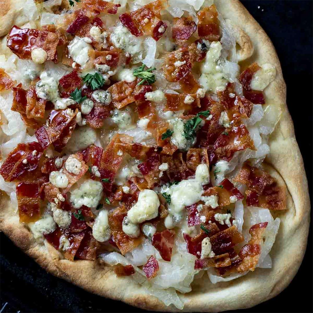 Easy Caramelized Onion Flatbread Pizza