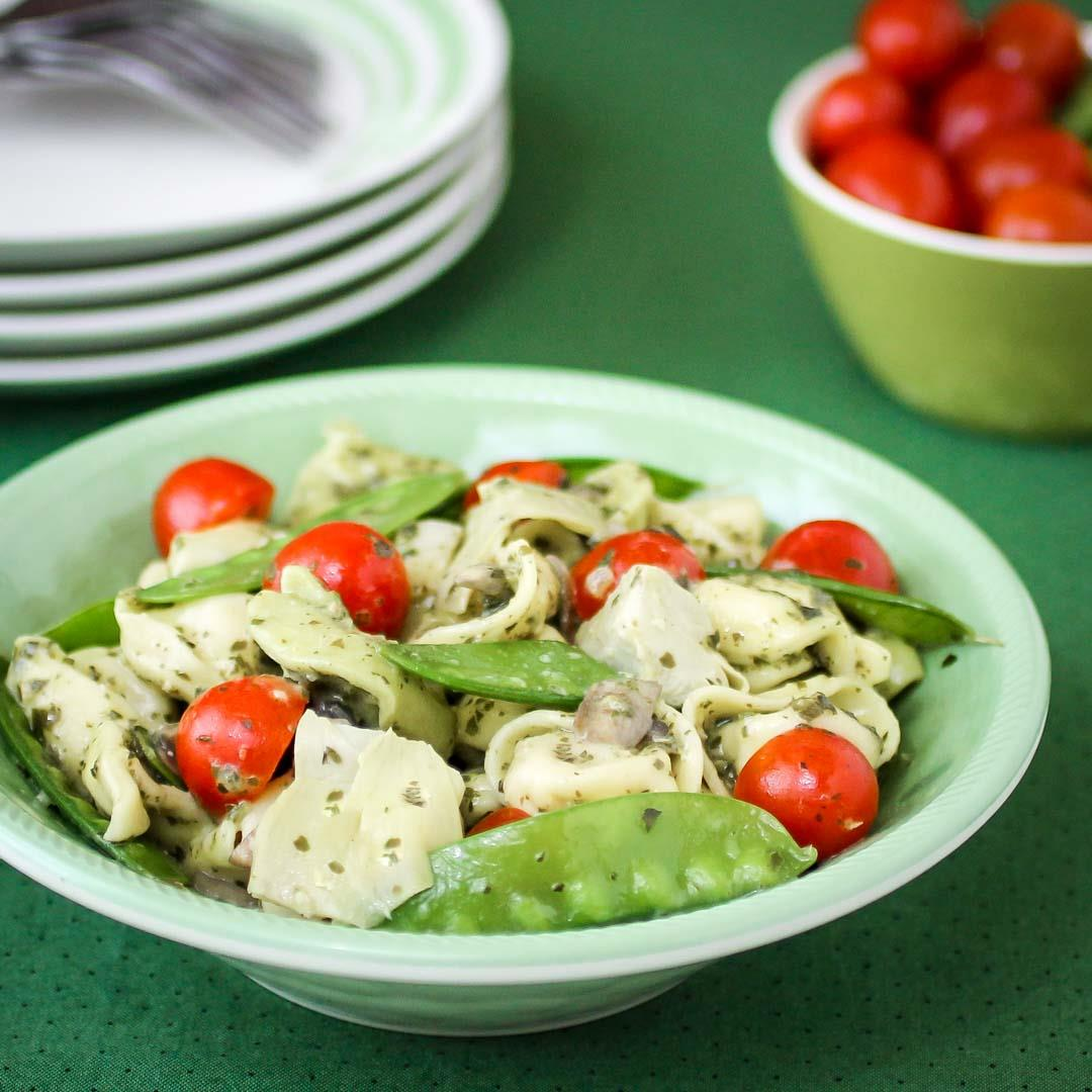 Pesto Tortellini with Artichoke Hearts and Snow Peas
