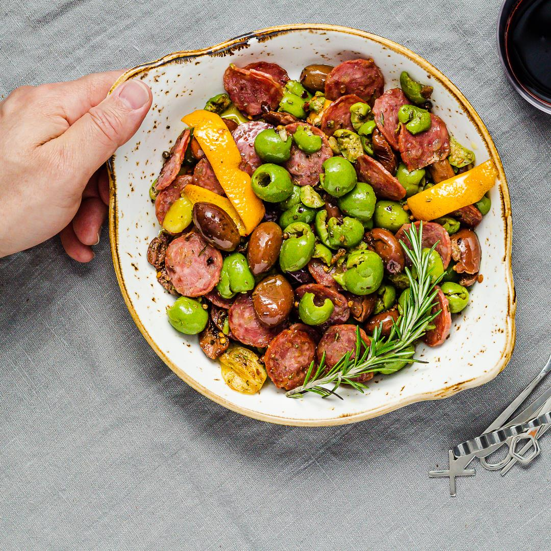 Warm Marinated Olives and Salami