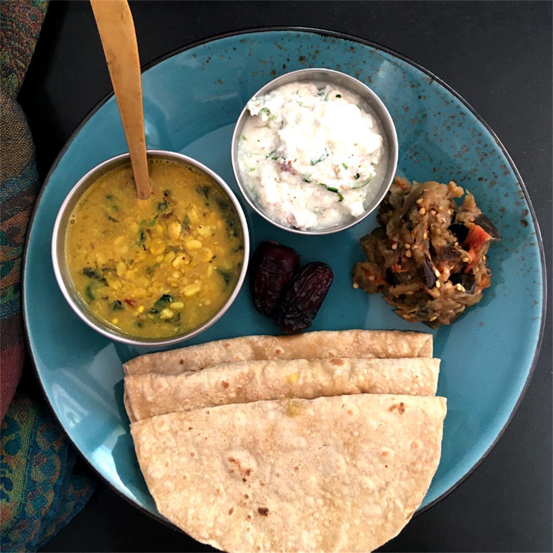 Vegatarian Thali: Dal, Raita, Bharta, Chapatis