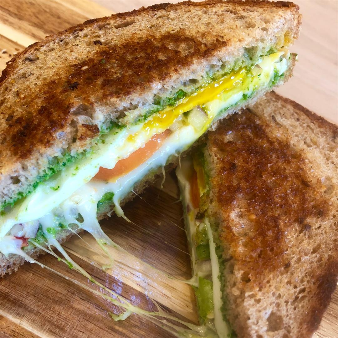Chutney Grilled-Cheese with a Fried-Egg