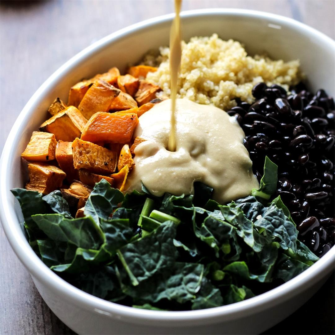 Sweet Potato Casserole with Black Beans, Kale and Quinoa
