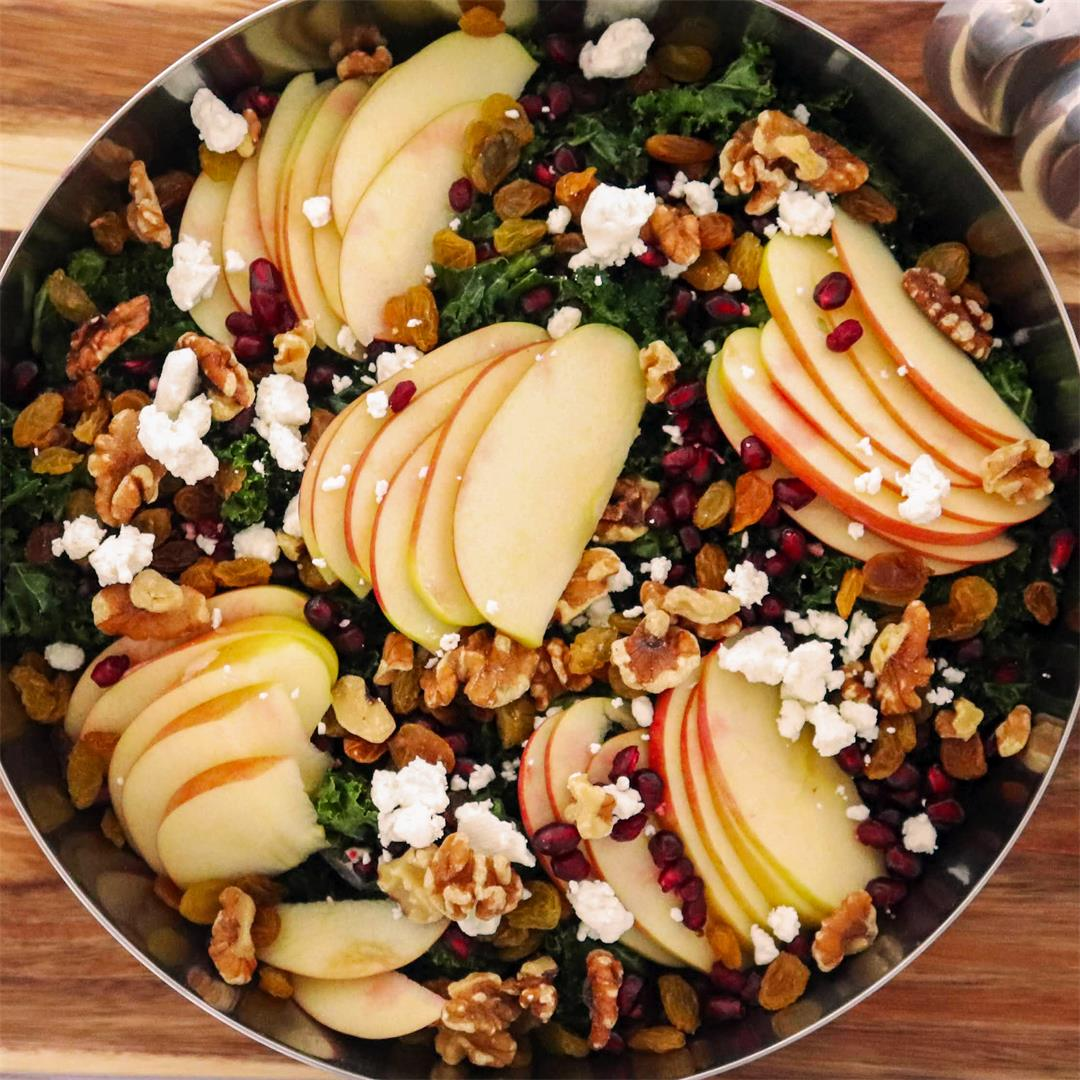 Kale Salad with Apples and Pomegranate