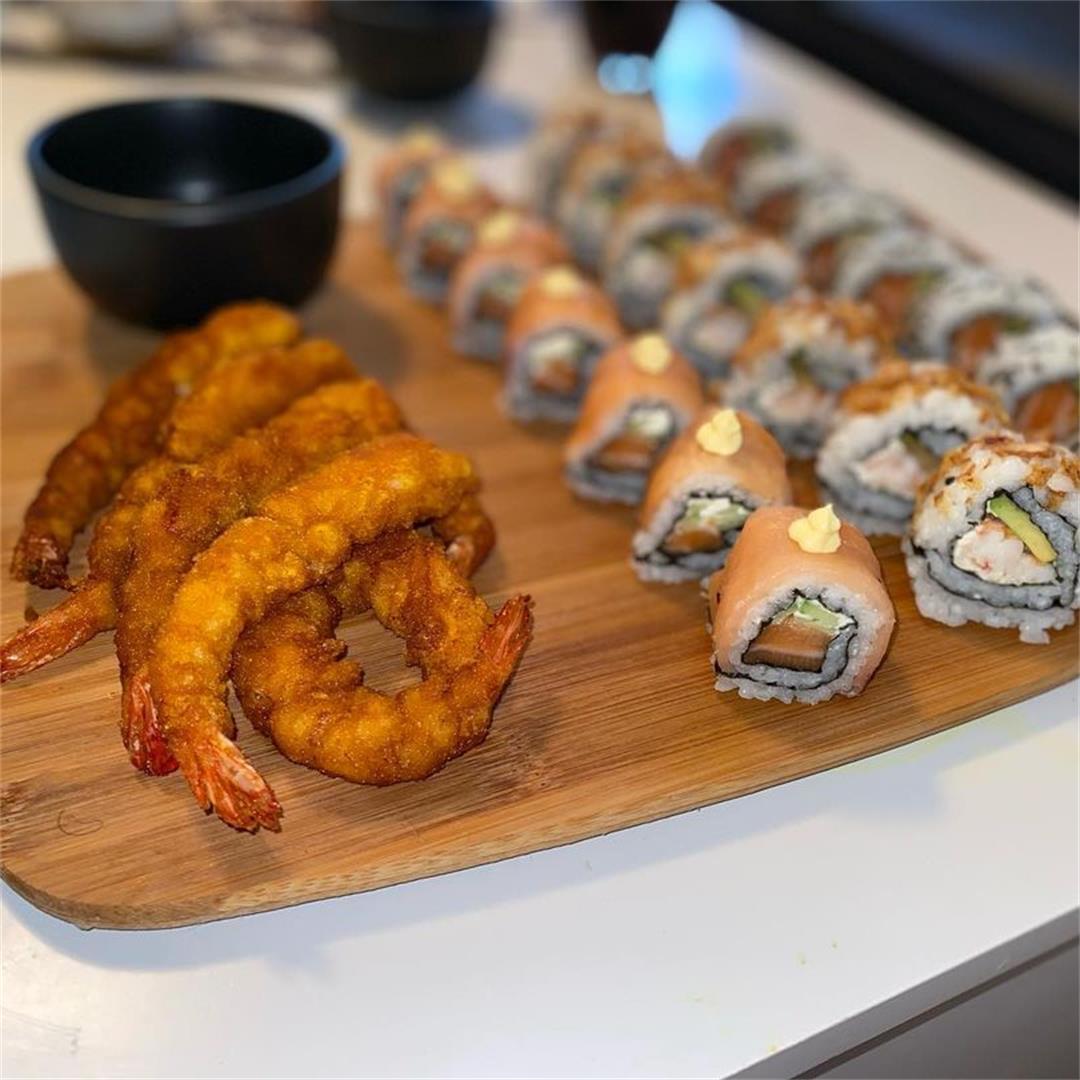 Homemade Sushi with tempura shrimp