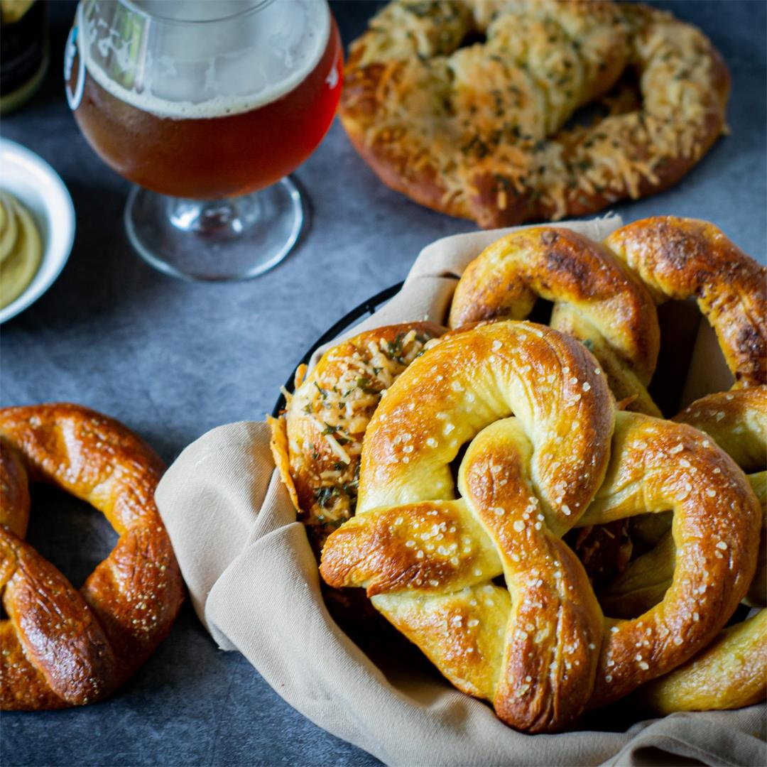 German Soft Pretzels, Four Ways