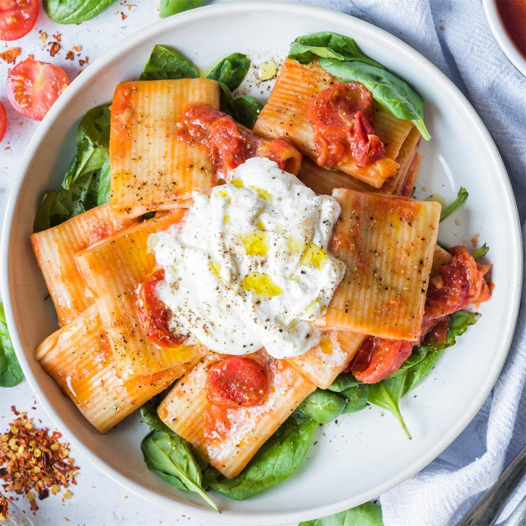Tomato and Burrata Rigatoni -