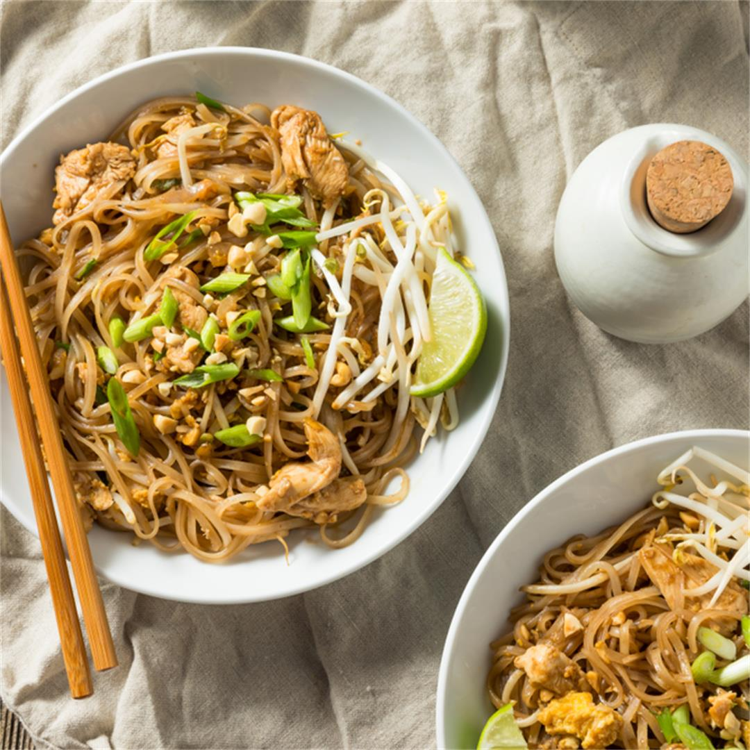 Easy Chicken Pad Thai with Crushed Peanuts