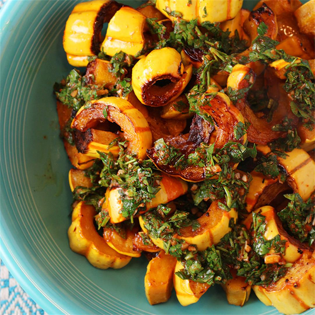 Roasted Delicata with Smoked Paprika-Herb Sauce