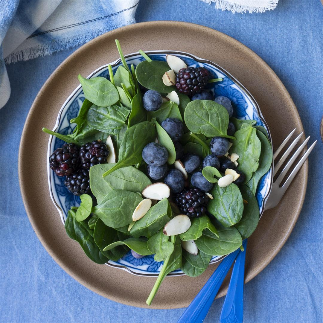 Berry Spinach Salad with Maple Balsamic Vinaigrette