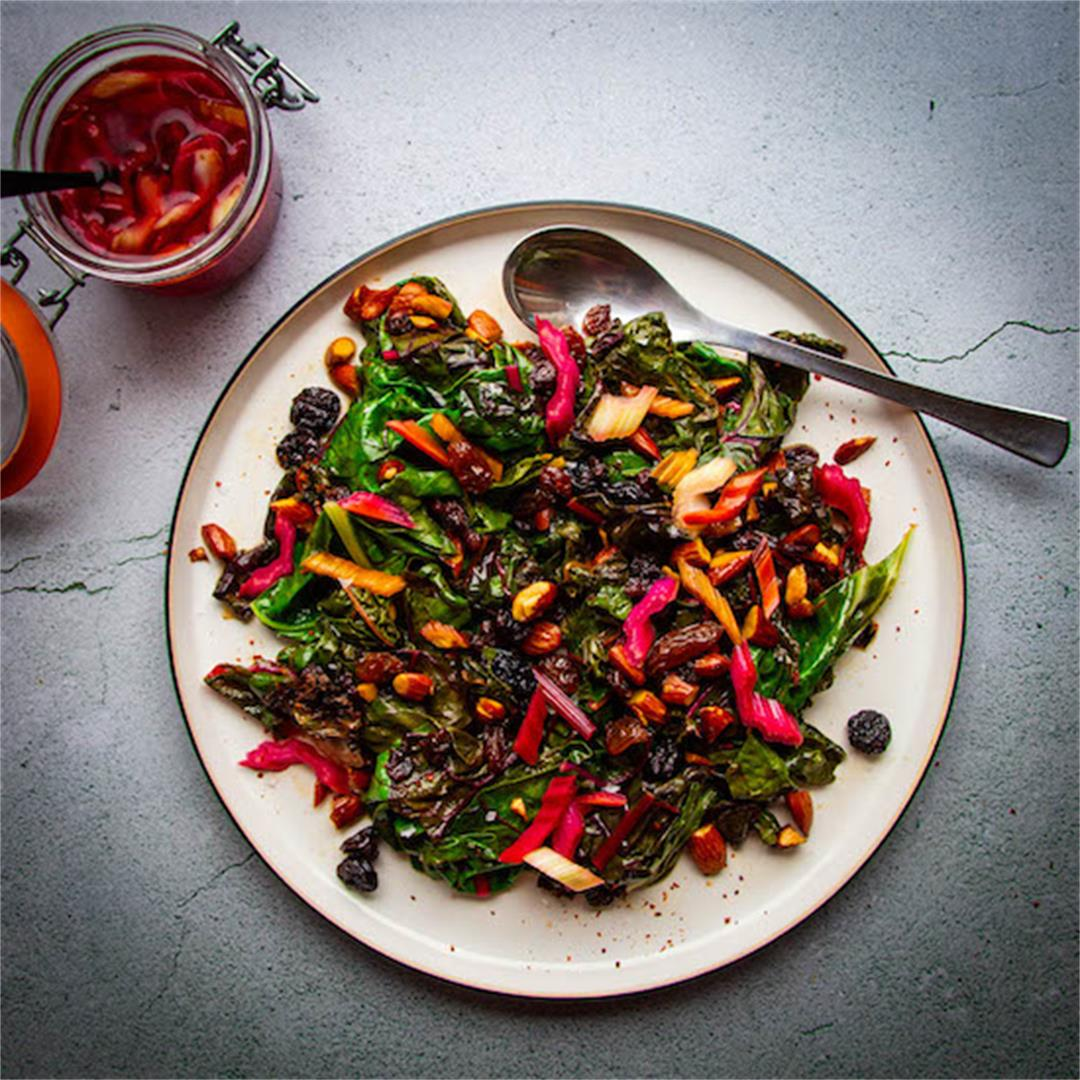 Sautéed Rainbow Chard with Brown Butter Raisins, Almonds + Chil