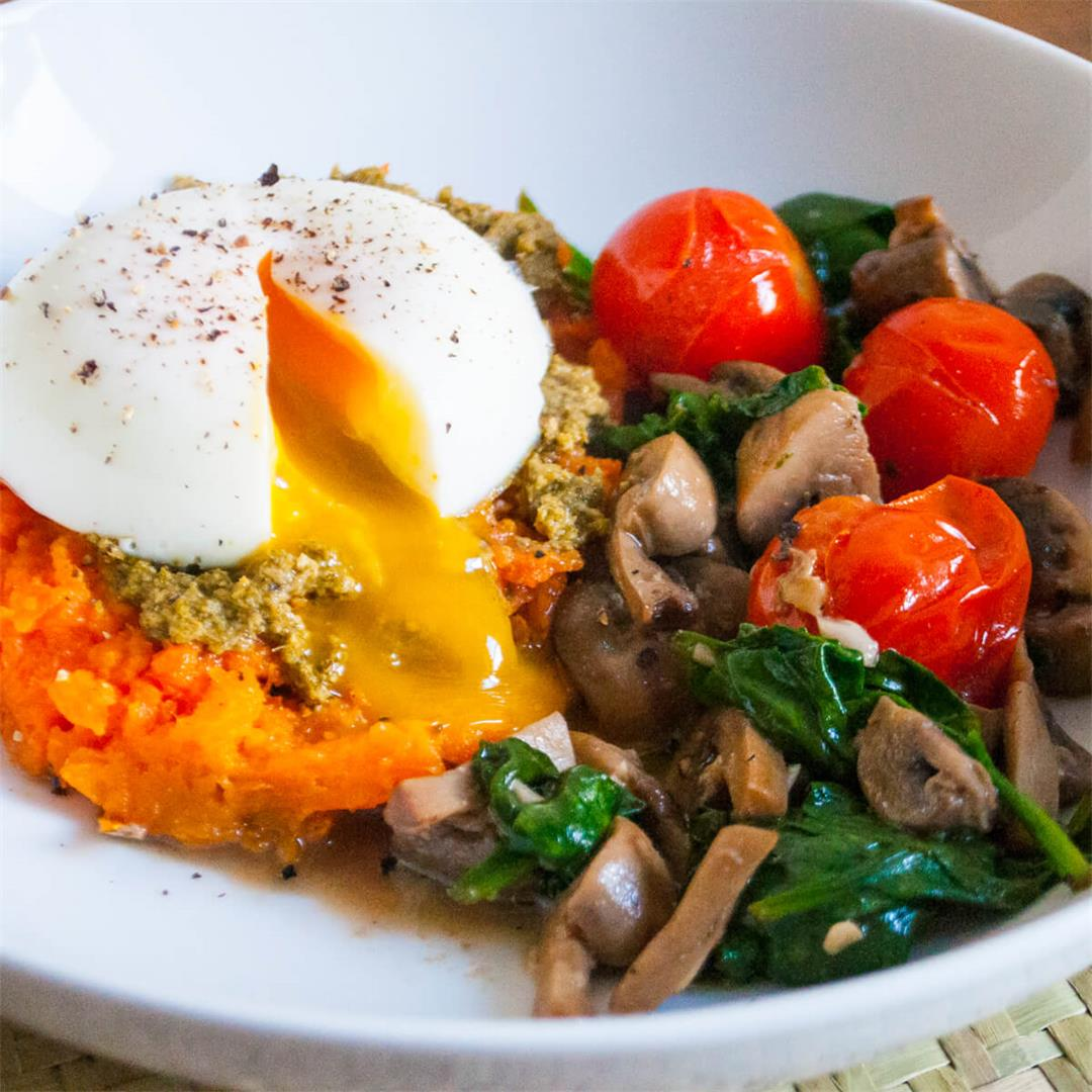 Baked Sweet Potato, Pesto and Poached Egg Bowl