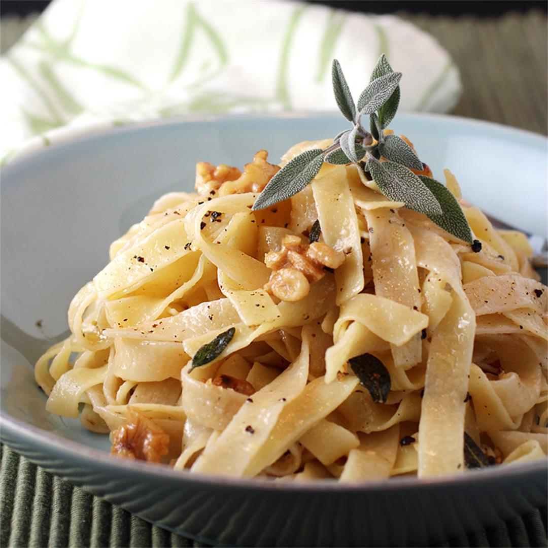 Brown butter sage tagliatelle with toasted walnuts