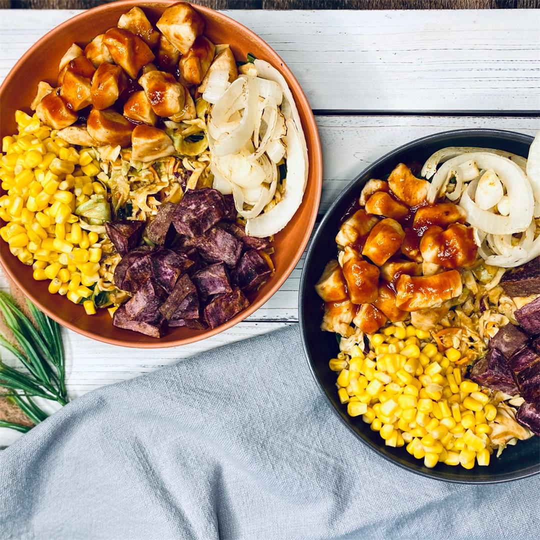 BBQ Chicken Bowls with Spicy Almond Slaw