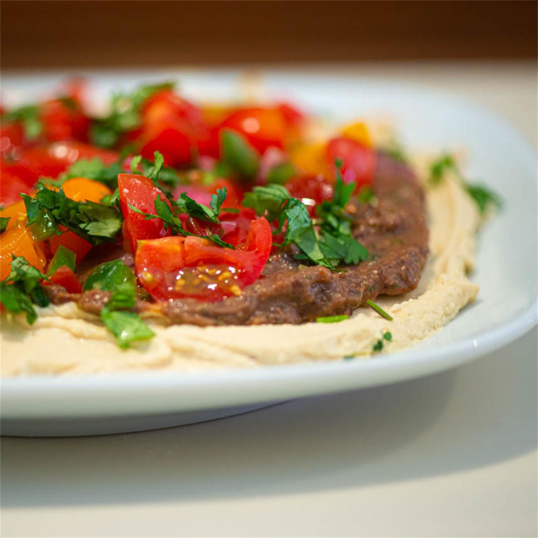 Hummus With Chipotle Chile, Black Beans, and Tomato Salsa