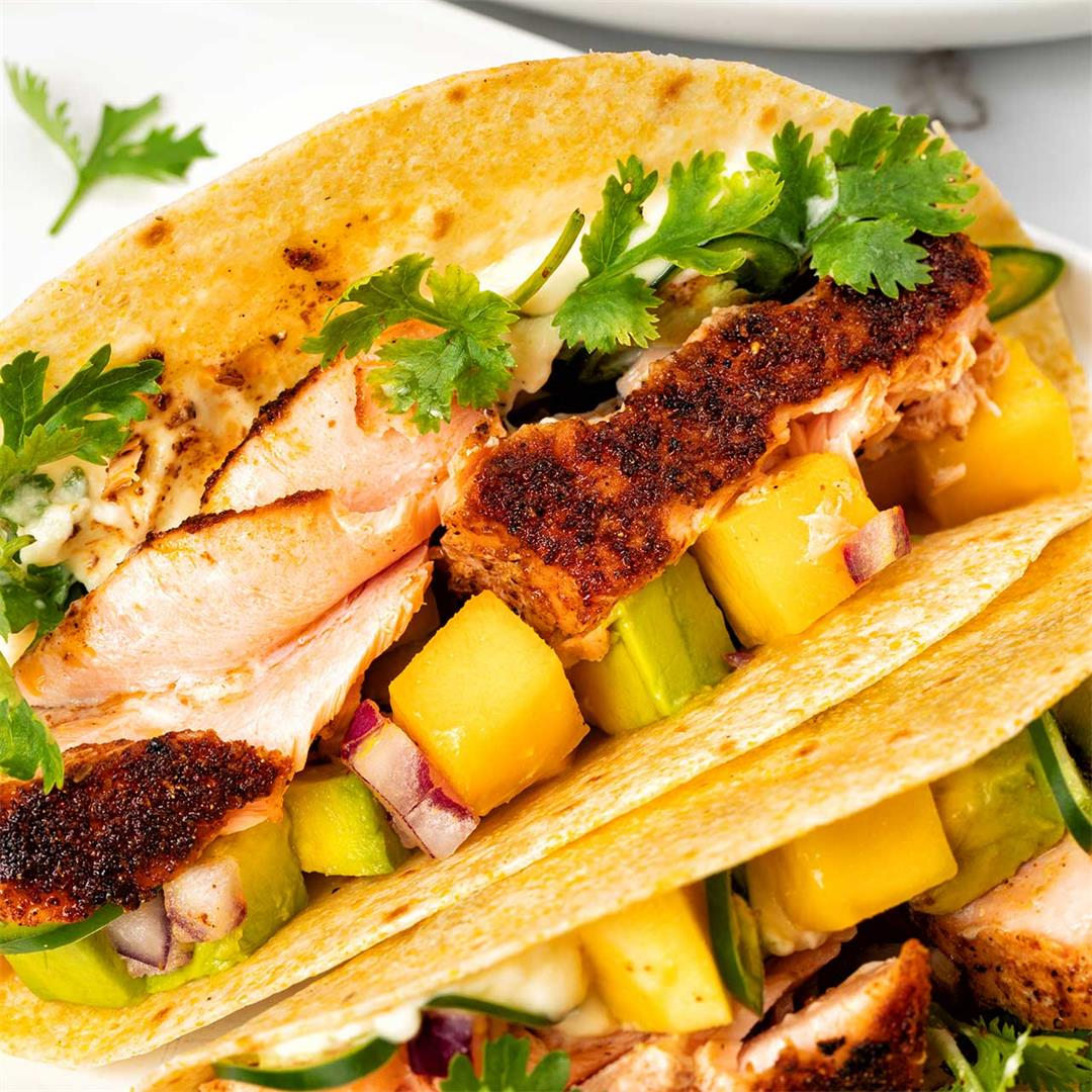 Blackened Salmon Tacos Recipe: Mango Salsa Fish Tacos