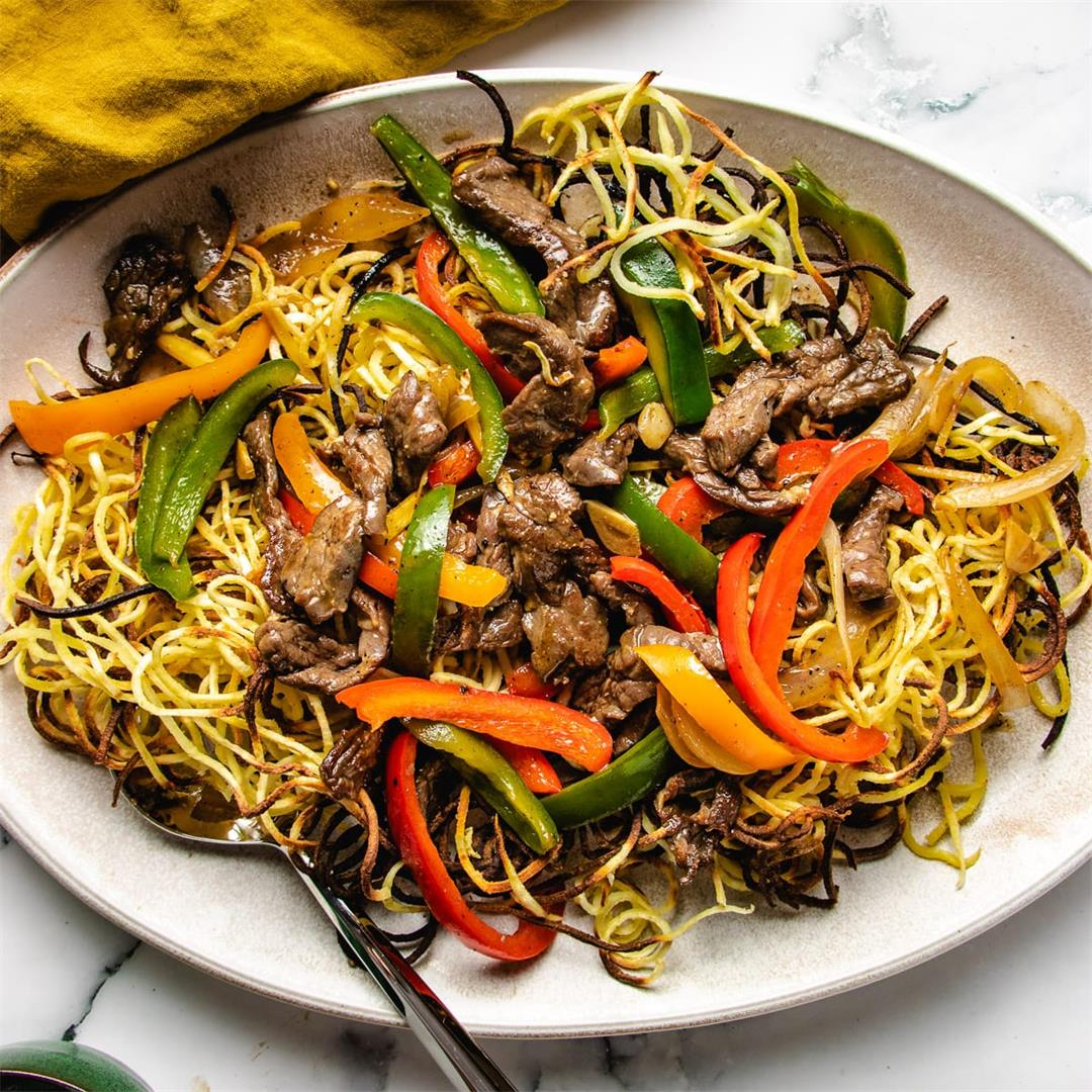 Cantonese Style Beef Chow Mein