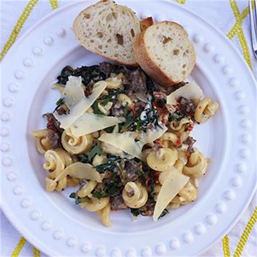 Tuscan Pasta with Fullblood Wagyu Hot Italian Sausage