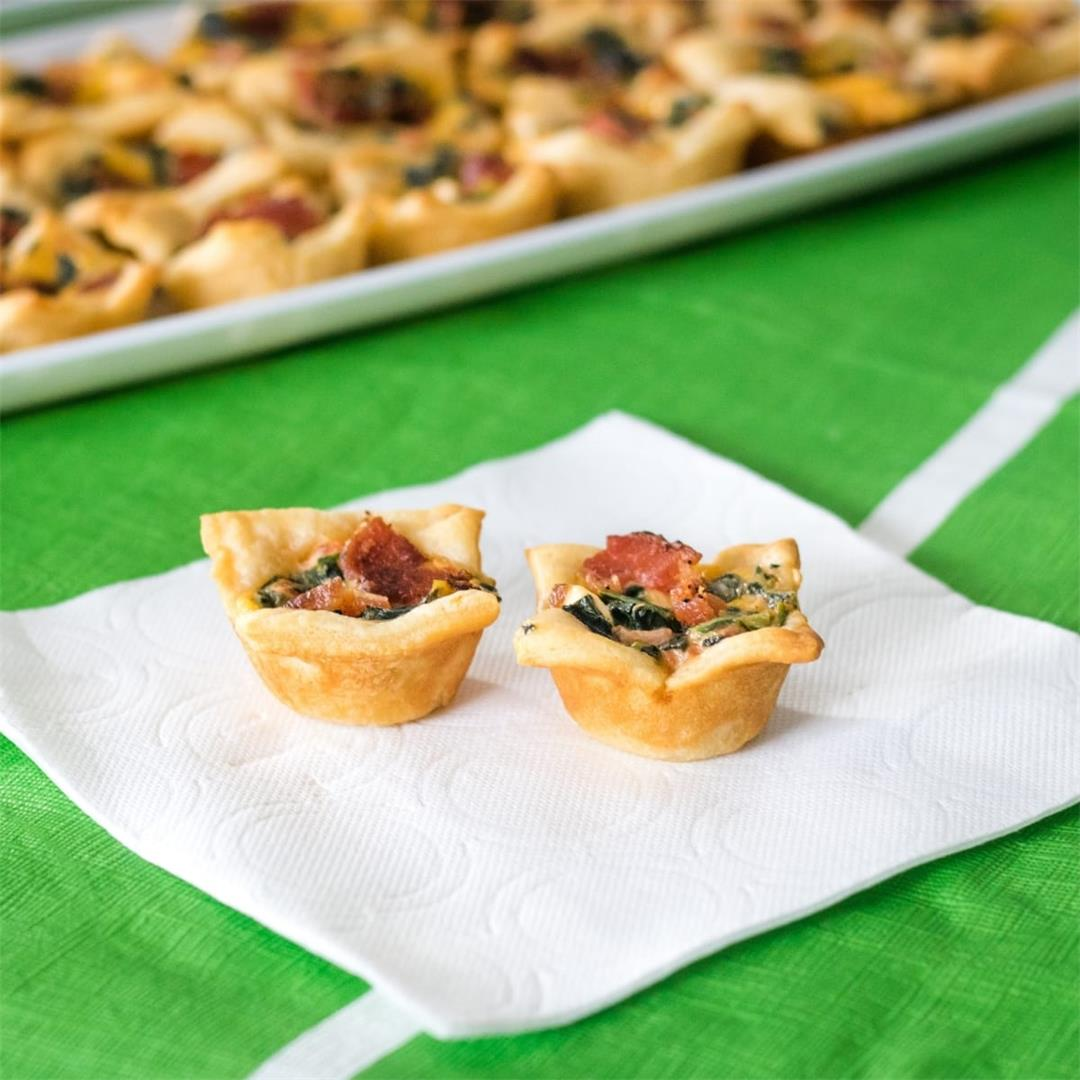 Cheesy Spinach and Bacon Dip Bites