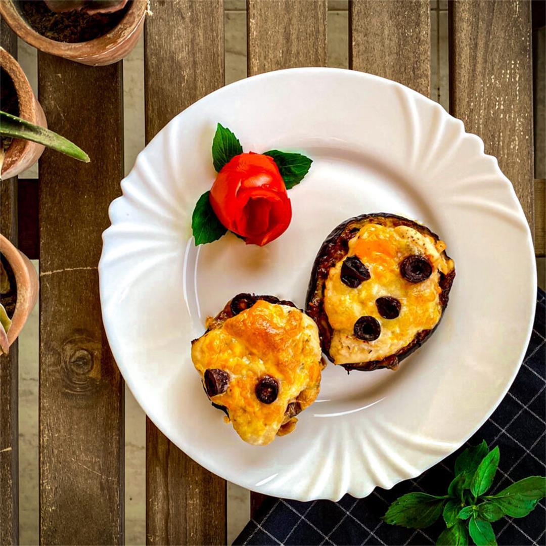 Low Carb Tasty Eggplant Chicken Pizza Bites
