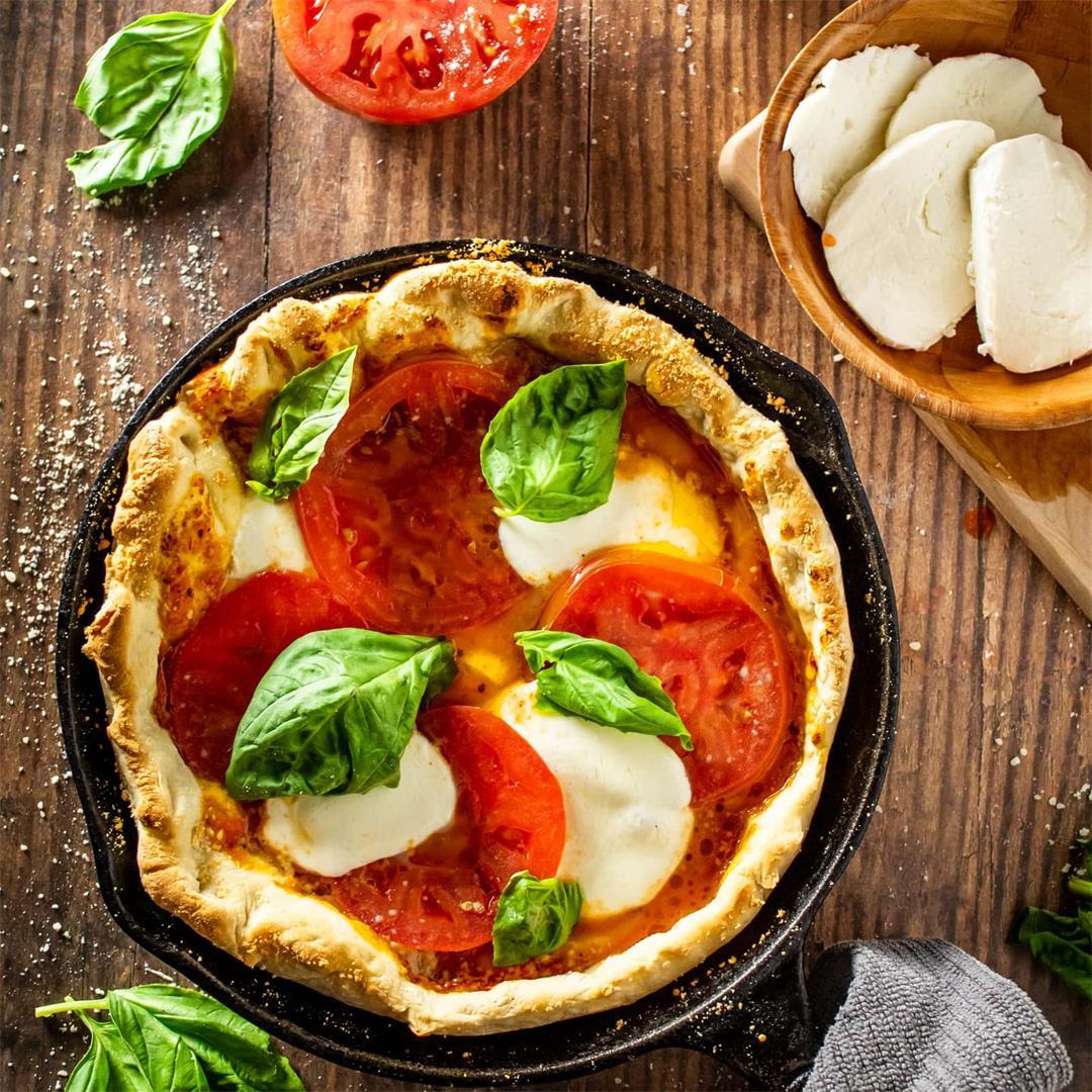 Homemade Cast Iron Pan Pizza Recipe