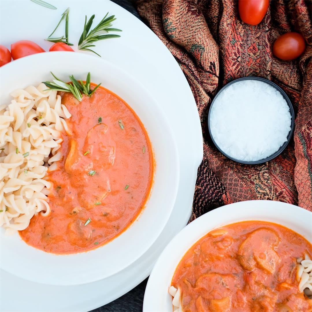 Tomato and Mushroom Pasta with Coconut Milk