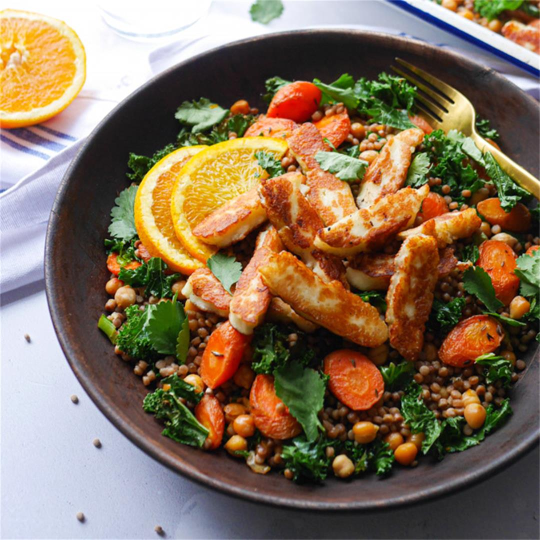 Halloumi Couscous with Chickpeas and Roasted Carrots