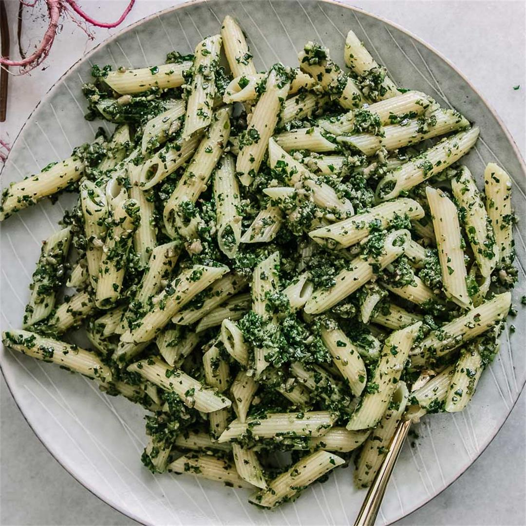 Beet Greens Pesto Pasta