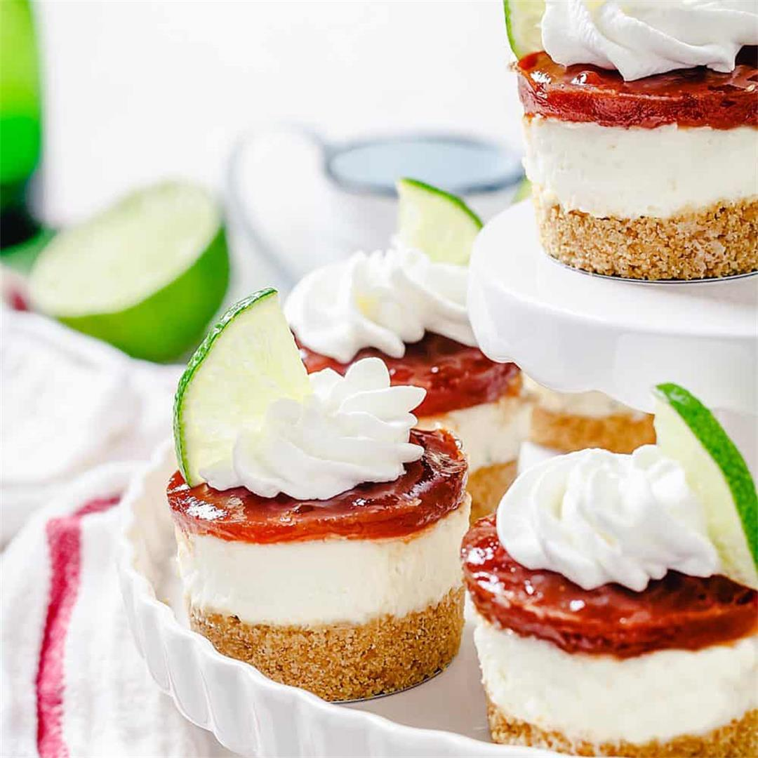 Cuban Mini Lime and Guava Cheesecakes