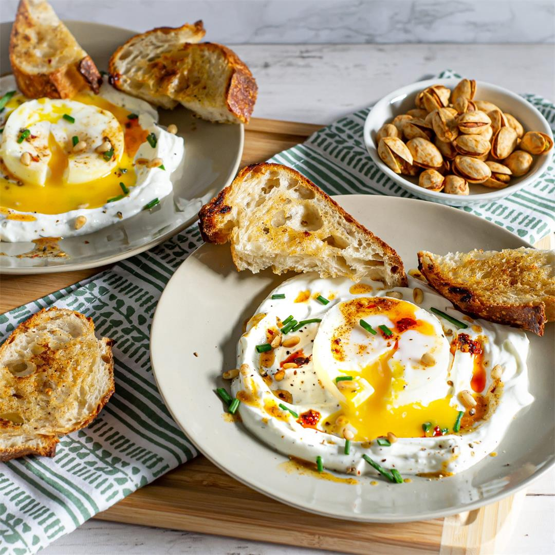 Turkish Eggs with Chili Butter (Cilbir)