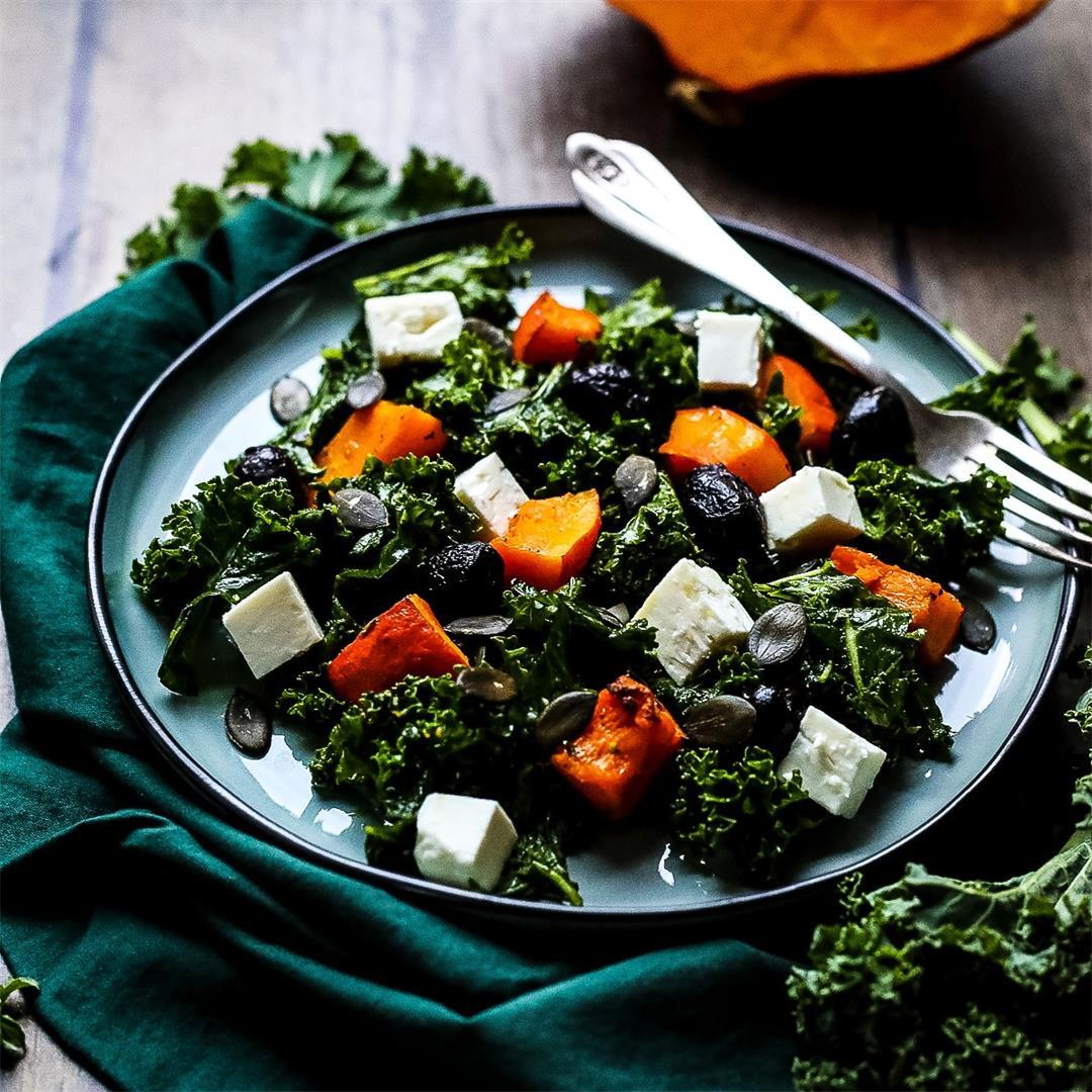 Kale Pumpkin Salad with Feta and Pesto Dressing • Happy Kitchen