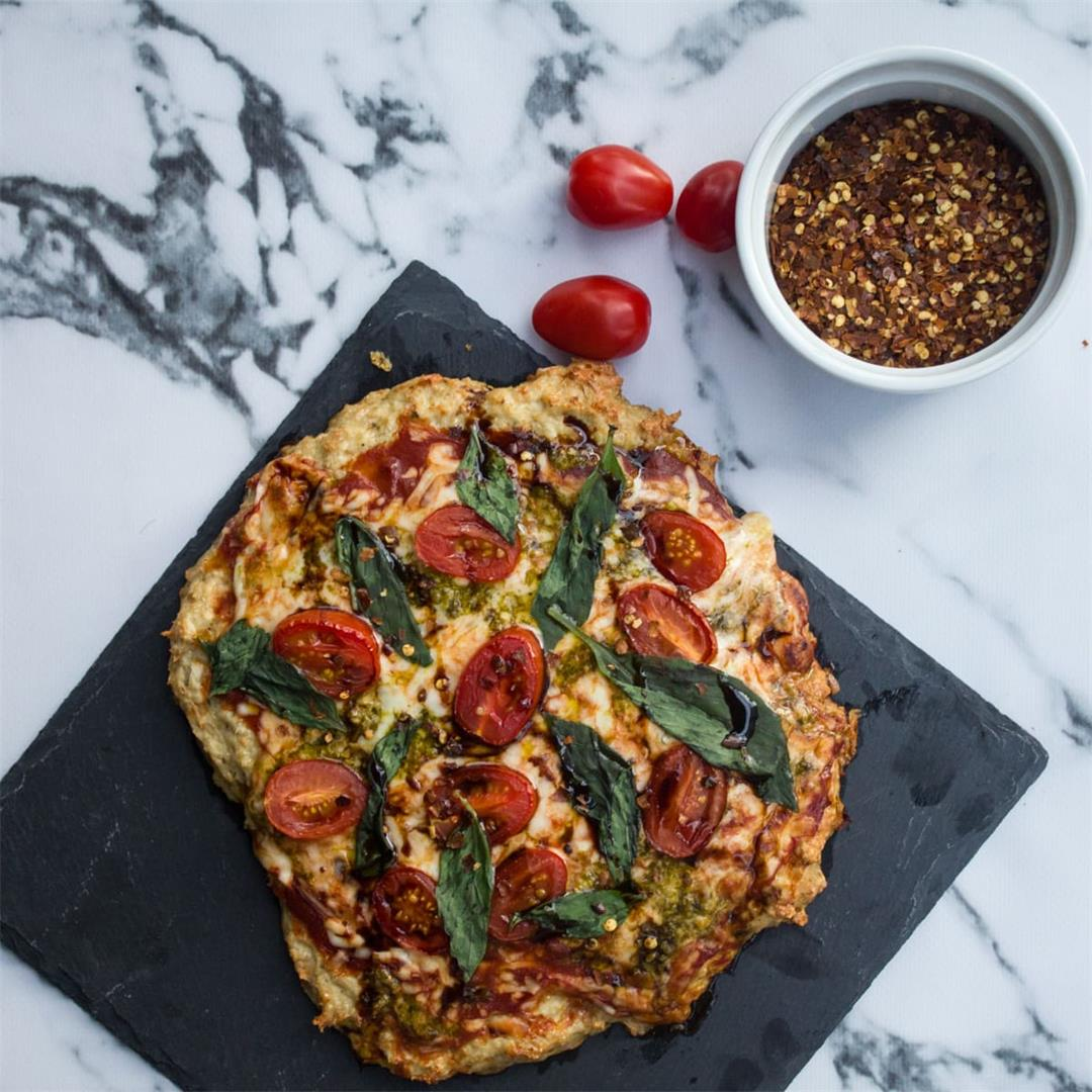 Low Carb Chicken Crust Margherita Pizza (Great For Keto!)