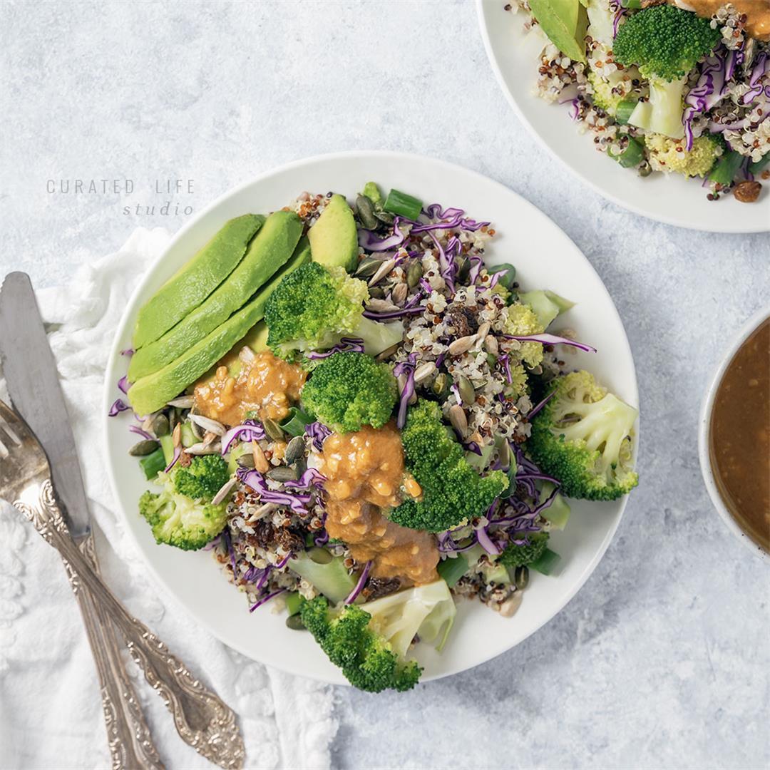 Easy Broccoli Salad with Peanut Dressing