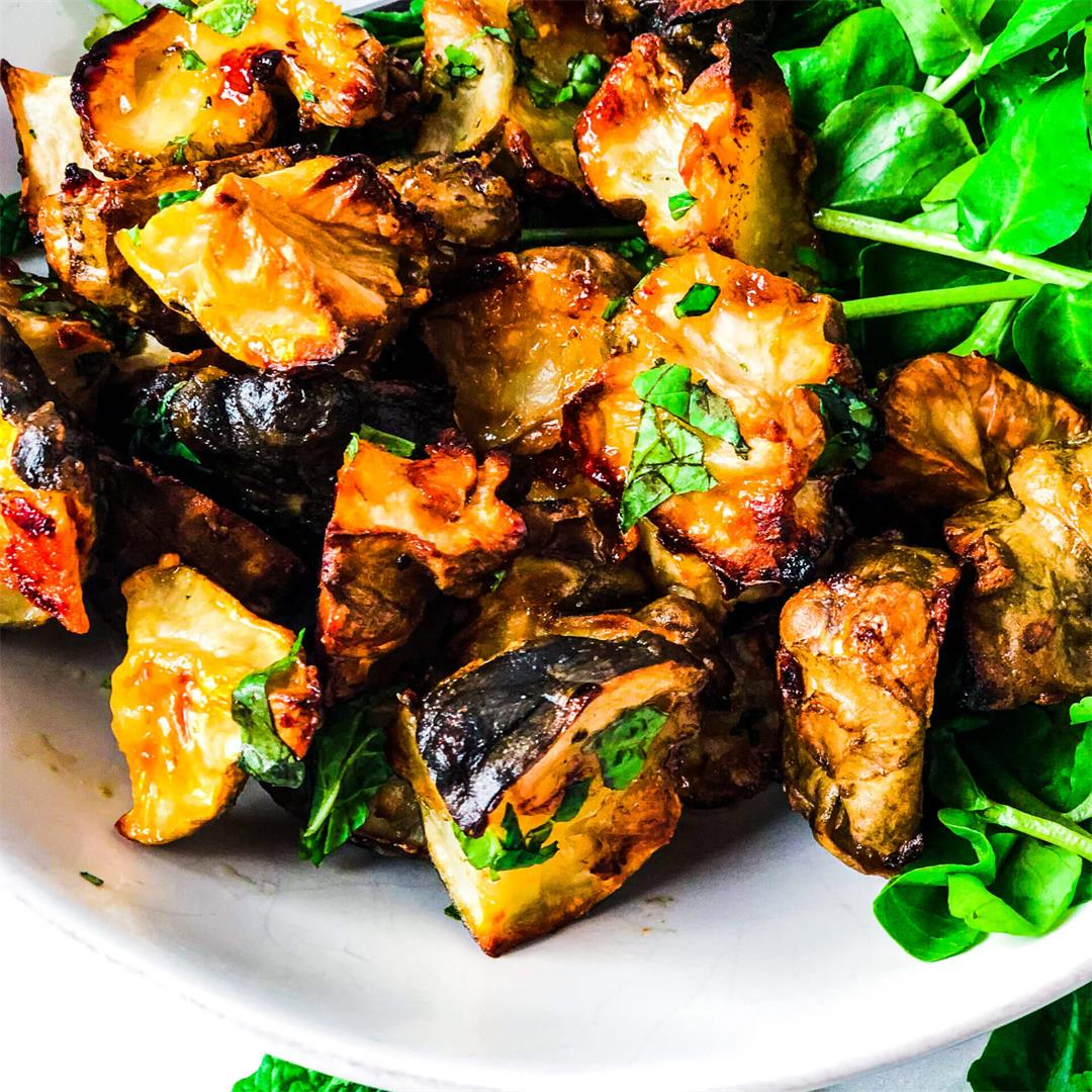 Roasted Sunchokes with Basil and Mint