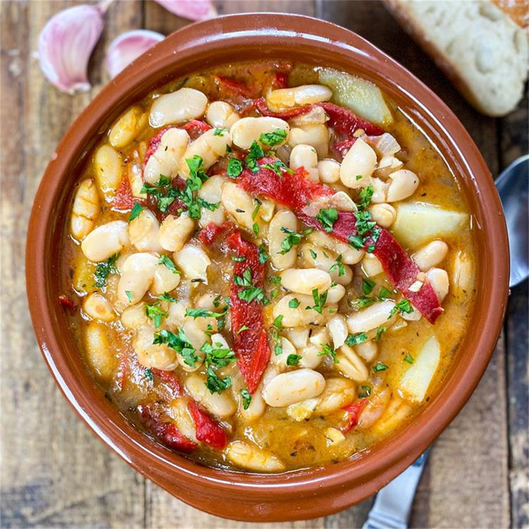 Spanish White Bean Stew with Roasted Peppers