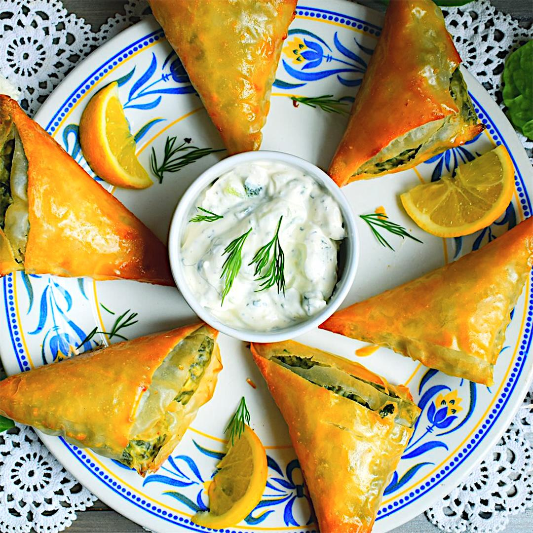 Spinach and Feta Filo Parcel with Tzatziki