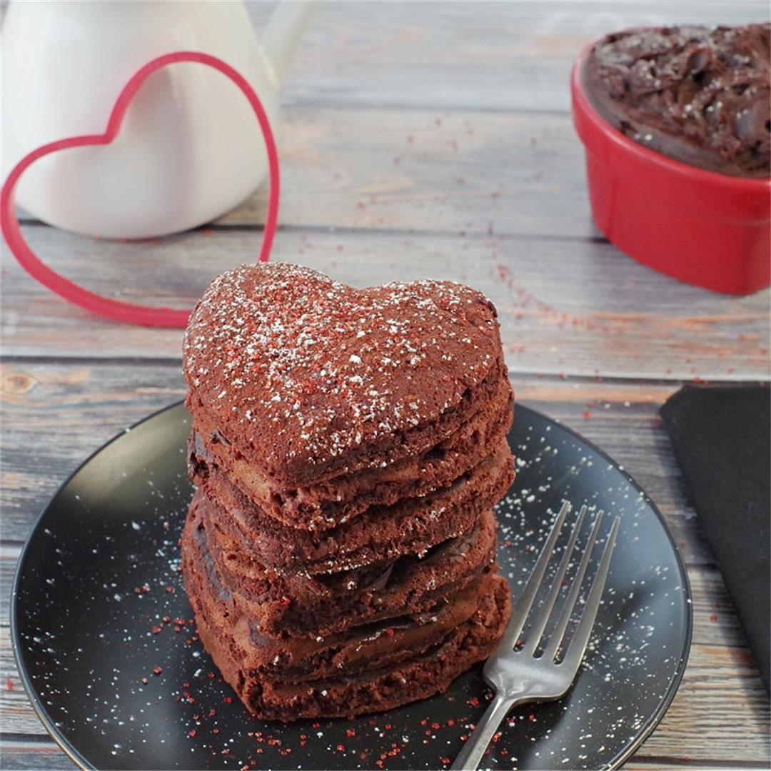 Healthy Red Velvet Pancakes with Sweet Chocolate Cream Cheese B