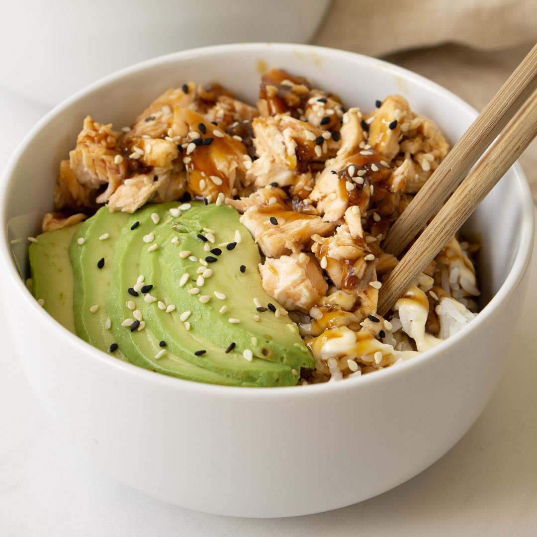 Teriyaki Salmon and Avocado Rice Bowls