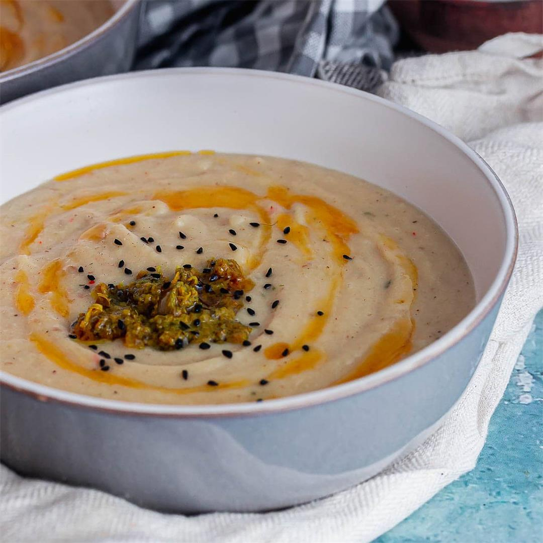 Roast Cauliflower Soup with Preserved Lemon & Miso