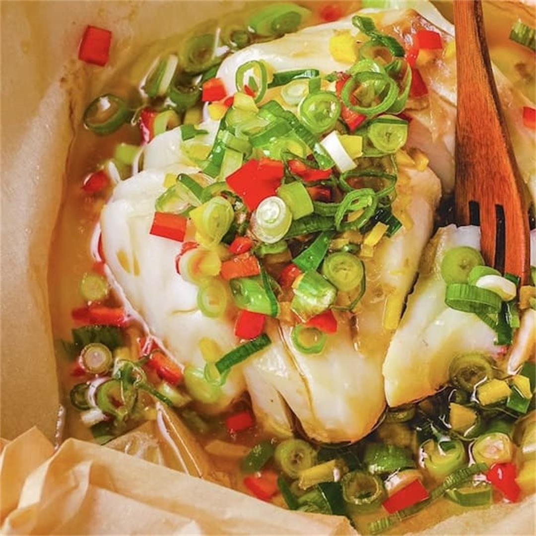 Chinese Steamed Cod Fish Scallion Sauce