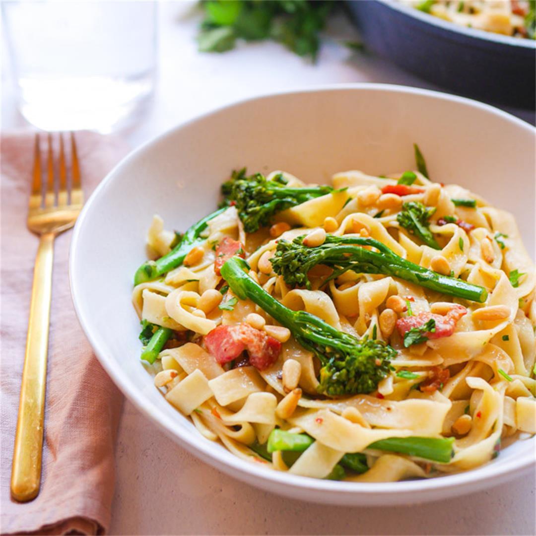 Tagliatelle Pasta with Broccoli and Bacon